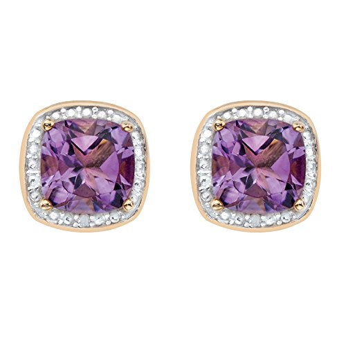 Genuine Purple Amethyst and Diamond Accent 14k Gold-Plated .925 Silver Halo Stud Earrings