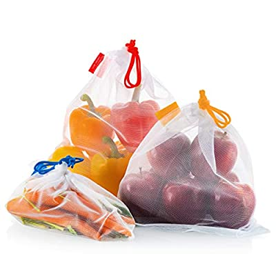Vandoona Food-safe Mesh Reusable Produce Bags – Set of 9 Strong See-Through Mesh Bags for Fruit, Veggies, Fridge Organizing, Toys & Books. Color-Coded Drawstring by Size & Tare Weight Tags.
