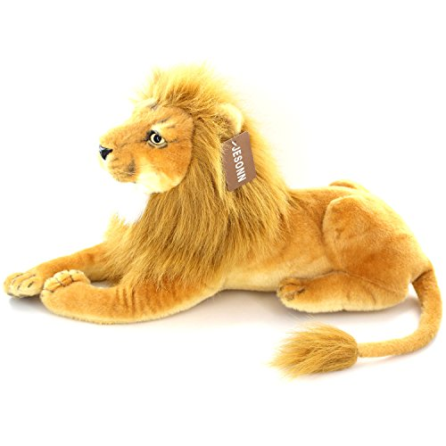 Jesonn Realistic Giant Stuffed Animals Plush Toy Lion Beige for Kids' Gifts,22.5
