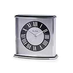 Time Factory AJ-CM699 Palm Springs Lacquered Ebony Wood with Stainless Steel Accents Quartz Clock, Black/Silver