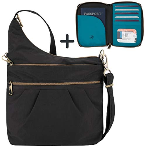Travelon Anti-Theft Signature 3 Compartment Crossbody Shoulder Bag with Travel Wallet (Updated)