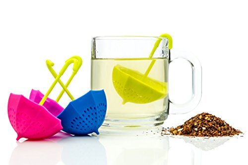 Umbrella Tea Infuser Set - Includes 4 Cute Fun Colorful Strainer Pieces - Works Like a Tea Ball to Brew Loose Leaf & Herbal Teas Right in the Cup - Great Gift for Tea Lovers