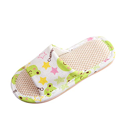 Baby Slippers Shoes for Girls Boy Kids Cute Cartoon Linen Flip Flops Breathable Shoes Outdoor Indoor Sandals Green