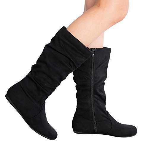 Black Faux Suede Slouch Boot - Women's Round Toe Slouchy Boot with Buckle (6, Premium New Black Faux Suede)