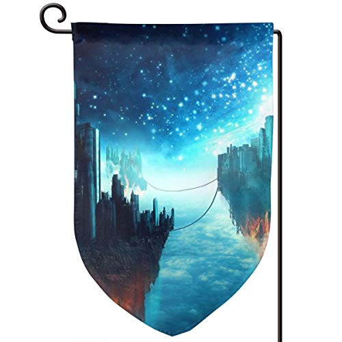 Private Bath Customiz Floating Islands Sci Fi City Welcome Garden Flag Double Sided 12.5 X 18 Inch Summer Yard Decor Outdoor Home Double Sided -