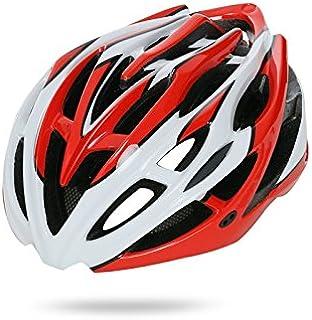 Flowerrs Scooter Helmet Casco ciclo di ventilazione per casco regolabile per adulto (rosso + bianco) Casco da skate