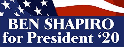 American Vinyl Ben Shapiro for President '20 Bumper Sticker (2020 Jewish Conservative) -