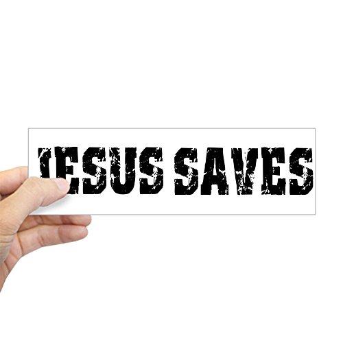 CafePress - Jesus Saves Bk Bumper Sticker - 10