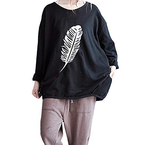 GOVOW Feather Printed Long Sleeve Blouse Women Autumn Sweatshirt Pullover Casual Tops(US:10/CN:XL,Black)