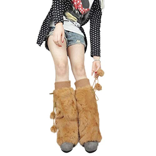 Women's Knitted Leg Warmers With Rabbit Fur Winter Leggings Boot Toppers 40cm Fur Story 080101 ()