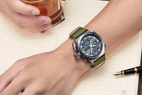BIDEN Watch, Watch Men Digital Analog Sport Waterproof Watch,Multifunction LED Date Alarm Leather Wrist Watch (GreenBlack) by BIDEN (Image #7)