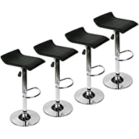 Bar Stools Set of 4 - PU Leather Padded, Swivel Adjustable Hydraulic Dining Chairs with Chrome Base (Black 2)