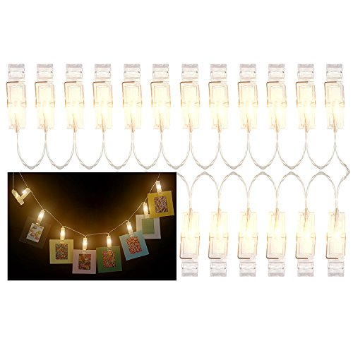 Katia 2 Meter LED String Lights with 20 Photo Clips Using AA Batteries as Energy Sources, Perfect for Hanging Picture/Instant camera Film/Artwork/Notes (Warm)