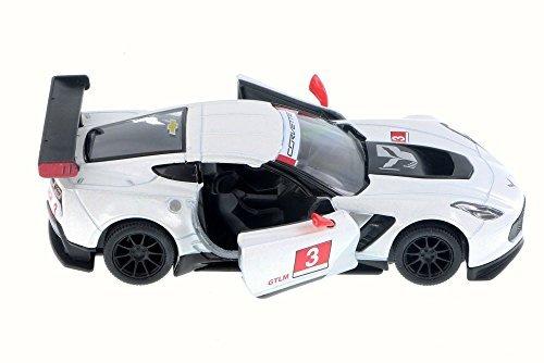 Chevy Corvette C7 Race Car #3, White w/ Decals - Kinsmart 5397D - 1/36 Scale Diecast Model Toy Car (Brand New but NO BOX) Corvette Race Car