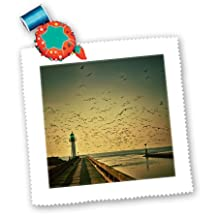 Florene - Landscape - Print of Lighthouse At Sunset With Flock Of Birds - Quilt Squares - 6x6 inch quilt square - qs_195005_2