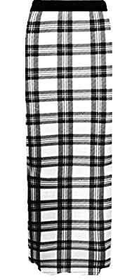 R Kon Women's Long Gypsy Tartan Print Ladies Jersy Maxi Skirt