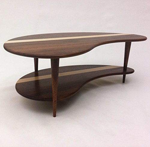 Mid Century Modern Coffee Cocktail Table - Solid Walnut with Shelf - Kidney Bean Shaped - Boomerang Design w/ Tapered Walnut Legs