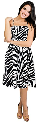 La Leela Likre Animal Skin Printed Smocked Strap Short Tube Dress Black & White