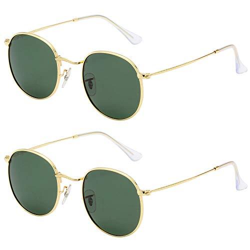 LianSan Classic Retro Metal Frame Round Circle Polarized Sunglasses for Men and Women 3447 Green Polarized lens-2P
