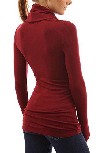 Tortuga de manga larga de la mujer cuello camiseta básica de Color sólido