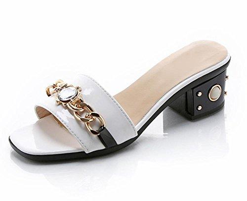 Sandalen Sommer mit und mit Frauen Metall Frauen Sandalen Sandalen weiblichen dickem Frau White Sandalen Pantoffel Wort 4RqwAA