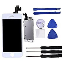 LCD Display For iPhone 5s Replacement Touch Screen Digitizer Assembly+Front Camera+Earspeaker Black White (white)