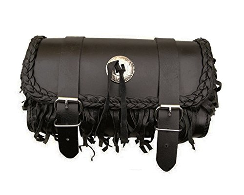 Genuine Black Leather Hard Motorcycle Tool Bag With Concho & Fringe