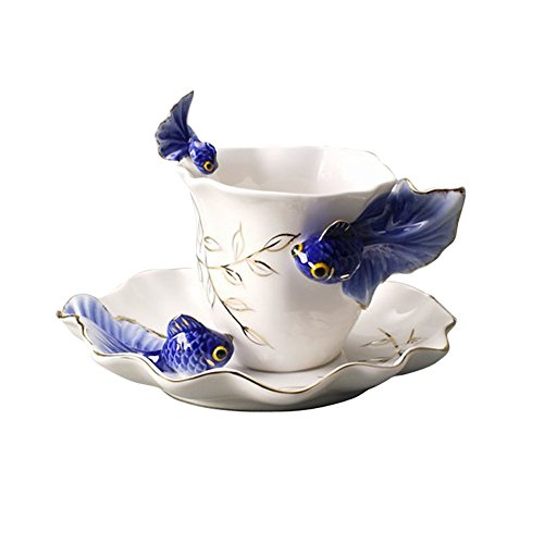 Creative Design Goldfish Coffee cups Suit Ceramic francs coloured drawing or pattern Creative tea cups Fashion gift (blue)