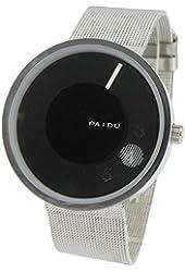 Youyoupifa Fashion Round Face Black Dial Sliver Strap Quartz Watch