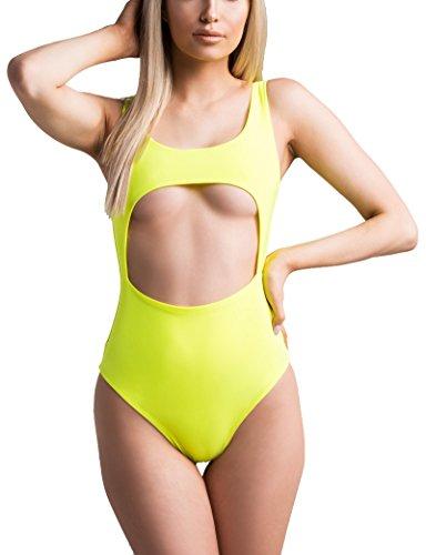 AKIRA Women's Neon Blacklight Cutout Underboob High Waist Swimsuit Bodysuit-NEON (Neon Yellow Body)