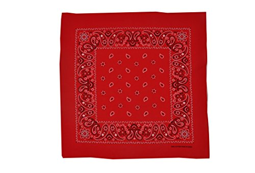 T&Z 100% Cotton 12 Pack Fine Bandanas Professional Factory Manufactured (Red) by T&Z (Image #1)