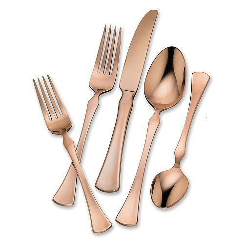 Brown Flatware (Hampton Forge 20-Piece Stainless Steel Flatware Set (Refined Copper))