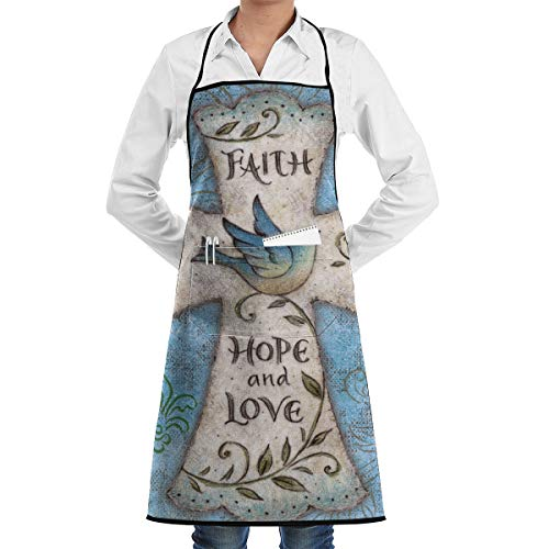 MAGICAI Hope and Love Religious Cross Easter Faith Apron Bib Pockets with Cooking for Kitchen Durable Unisex 20.5X28.3 - Apron Easter