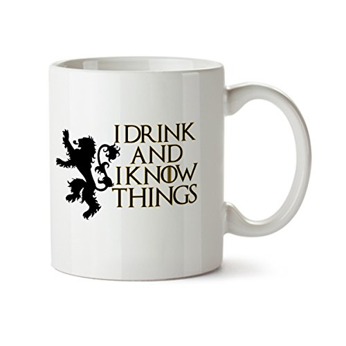 I Drink and I Know Things Funny Contemporary Design White Coffee Mug - Porcelain - Tea Cup - 11 oz - Great Gift (Halloween Blu Ray Box Set Australia)