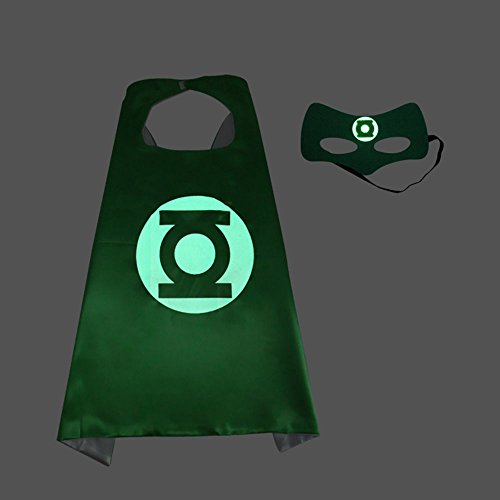 Halloween Comics Cartoon Dress Up Costumes Capes with Felt Masks-Glow in the darke Logo (Green Lantern)
