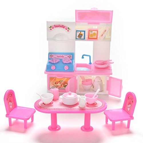 1 Set of 20 Pcs Pack Creative Kitchenware Dinner Tables Cupboard Sink Hearth Cabinet for Barbies Dolls