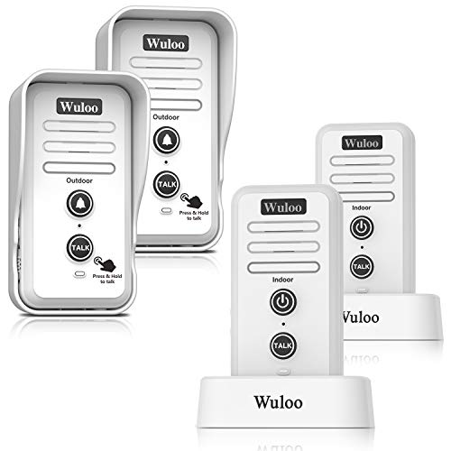Wireless Intercom Doorbell Chime for Home Intercomunicador (2T2 White), with 1/2 Mile Range 3 Volume Levels Rechargeable Battery Including Mute Mode
