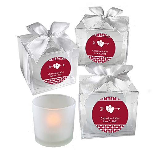 All Things Weddings, PERSONALIZED Votive Tealight Candle and Holder, Double Interlocking Hearts with Bow Design, Party Favors, Weddings, Bridal Party, Quinceanera, Set of 40, Red