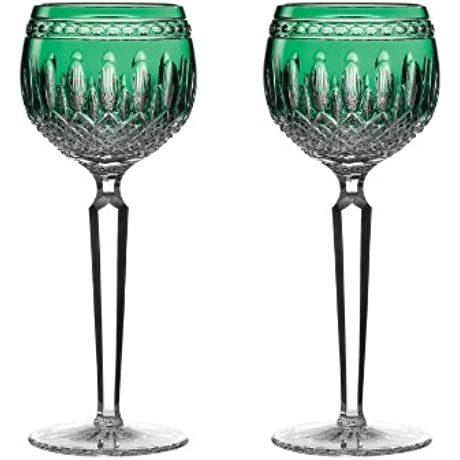 Waterford Clarendon Stemware Emerald Hock Glass Pair