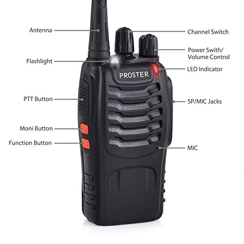 Proster Walkie Talkies Rechargeable 16 Channel 2-Way Radios With Original Earpiece and USB Charger 1 Pair by Proster (Image #2)