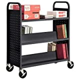 Sandusky Lee SFV336-09 Combination Top Flat Shelf Book Truck, 19'' Length, 39'' Width, 46'' Height, 5 Shelves, Black
