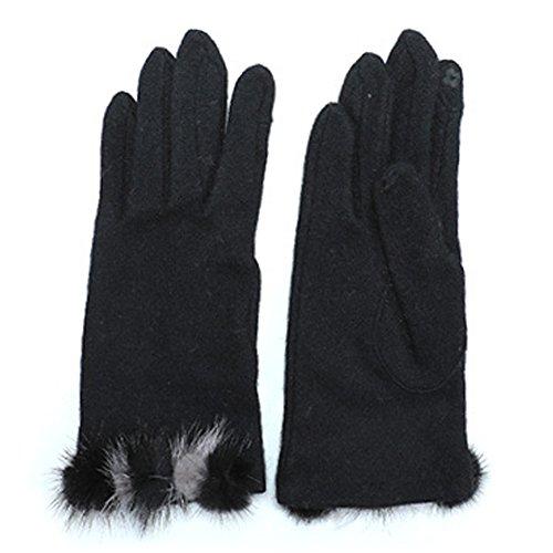 れるパズル規模(グローブデポ) GlovesDEPO レディース ウール混ジャージ手袋 2色ミンク梵天ファー付き