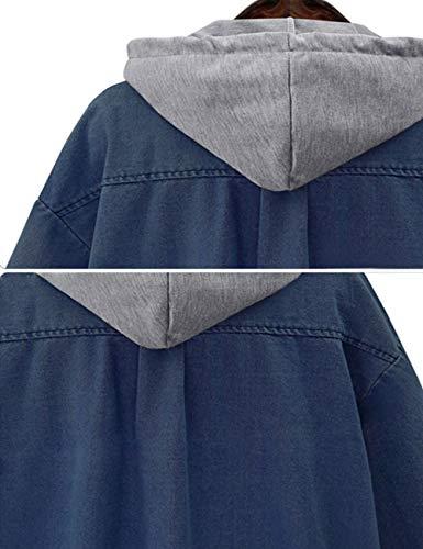 Innifer Women's Casual Long Denim Coat with Hood Long Sleeve Windbreaker Plus Size Jean Jacket Outwear by Innifer (Image #6)