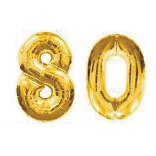 Grabo Giant 80th Gold Number Balloons