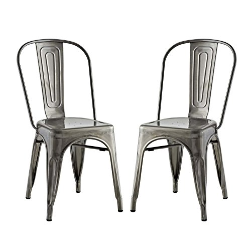 Modway Promenade Stackable Modern Aluminum Two Bistro Dining Side Chair Set in Gunmetal Cafe Aluminum Side Chair