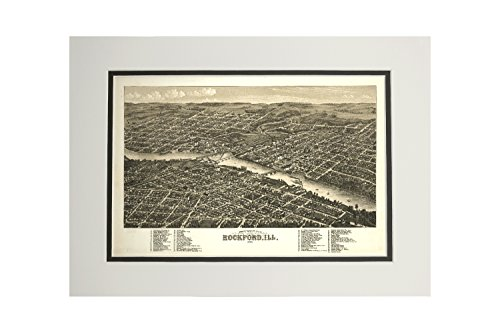 Rockford, Illinois - Panoramic Map (11x14 Double-Matted Art Print, Wall Decor Ready to Frame) (Illinois Map Panoramic)