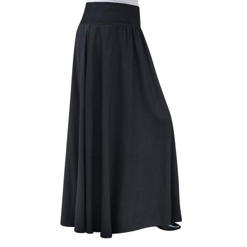 NREALY Skirt Womens Fashion Elastic Waist Solid Pleated Skirt Vintage A-line Loose Long Skirts