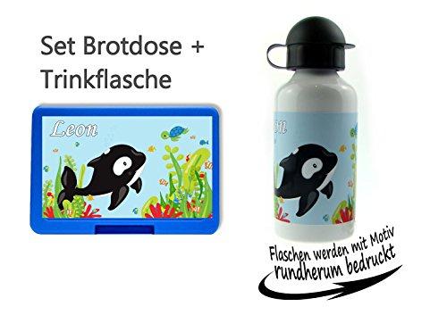 persönliche Brotdose BPA-Frei + Trinkflasche aus Aluminium 500 ml | personalisierbar mit Wunschnamen | Lunchbox Farbe auswählbar| Motiv Wal Orka Meer Junge Mädchen