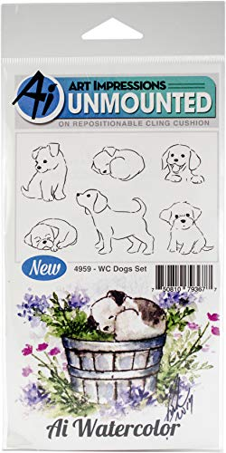 Art Impressions Watercolor Dogs Rubber Stamp Set by Art Impressions