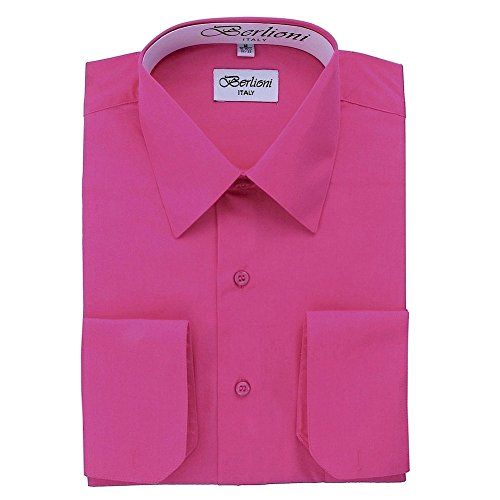 (Berlioni Italy Men's Convertible Cuff Solid Italian Shirt Fuchsia-XL (17-17½) Sleeve 32/33)